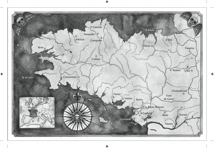 "The map of Brittany in ""Grave Mercy"" by Robin LaFevers"