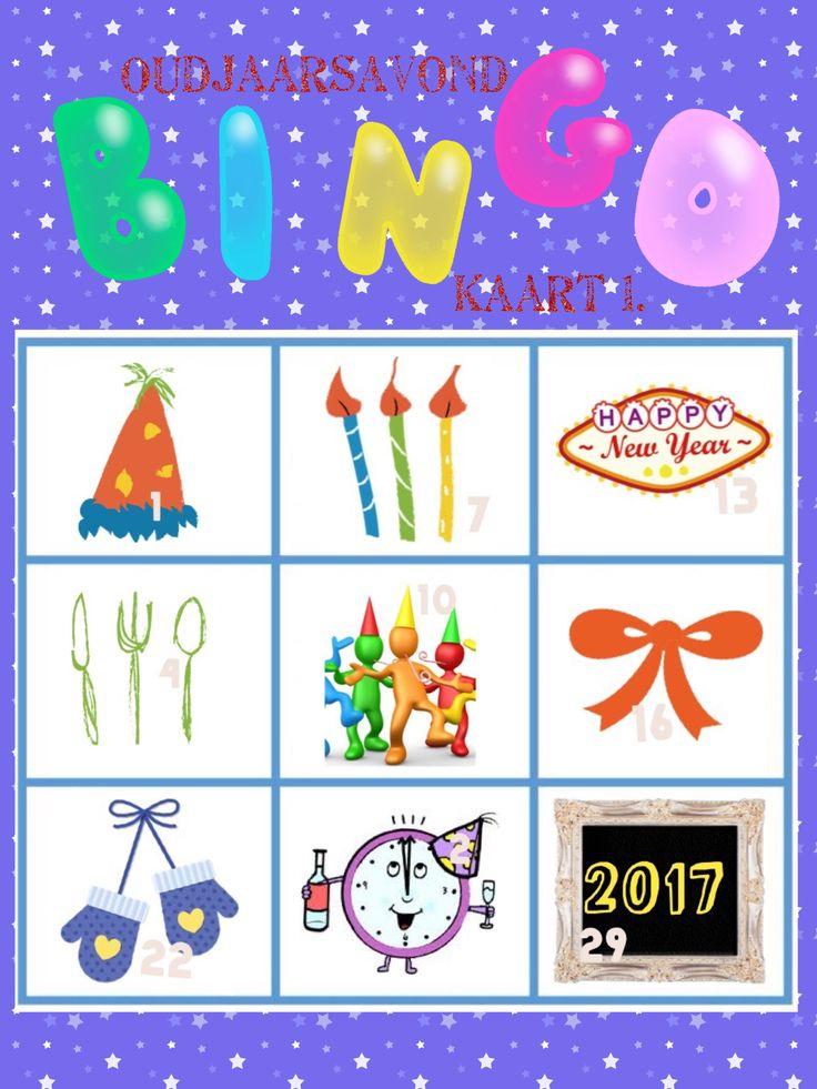 Oudjaar bingo kaart 1 van 6 voor oud en nieuw