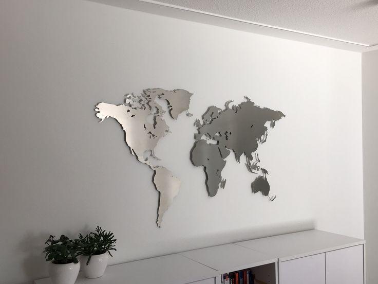 carte du monde en acier inoxydable cartes du monde pour le mur pinterest. Black Bedroom Furniture Sets. Home Design Ideas