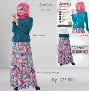 Baju Stelan Rok Payung Jersey Anstey Model Raisya Turkis