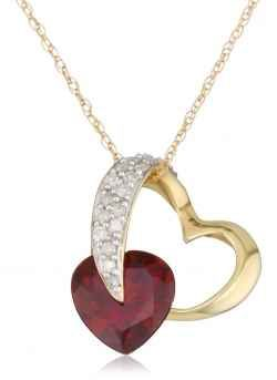I have chosen a good selection of heart necklaces for your consideration.  Gold Diamond and Garnet Heart-Shaped Pendant,     What a lovely gift for...
