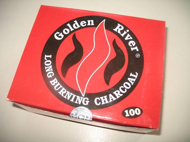 Golden River Kohle 1 Packung = 10 Rollen á 10 Tabs (100 Tabs). 33 mm Durchmesser. Schnellzünderkohle. Kohle für Räucherwerk, Shisha und Wasserpfeife. Angezündet, brennt die Kohle innerhalb einiger Sekunden