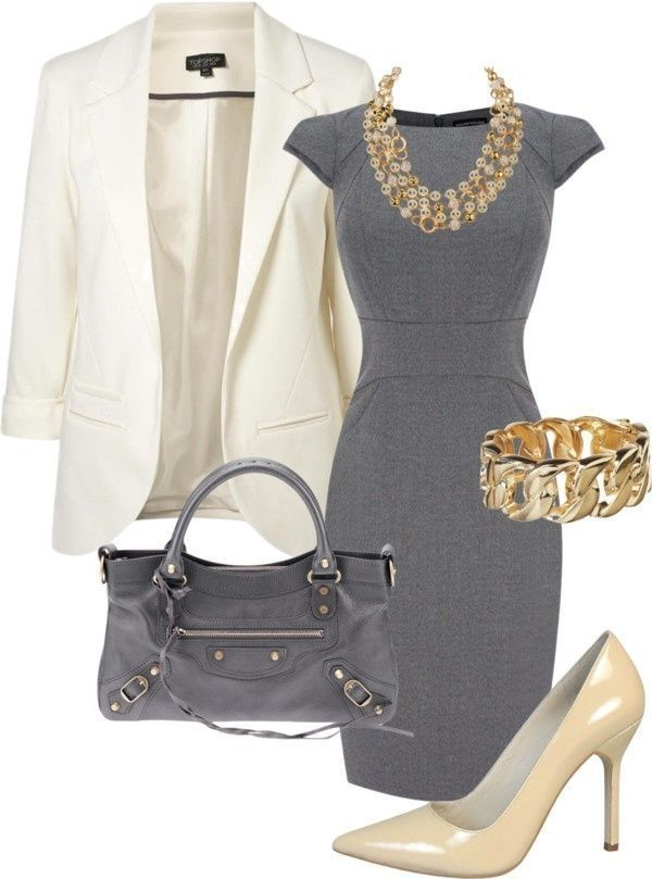 Great work outfit that combines gray and gold very well.  Gray dress with white blazer, nude heels and a statement gold necklace and bracelet combo.