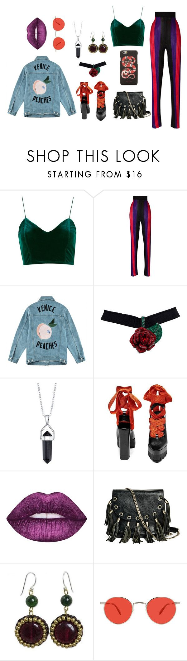 """70's babe"" by ytopia on Polyvore featuring мода, Balmain, Être Cécile, Bridge Jewelry, Lime Crime, GUESS by Marciano, NOVICA, Garrett Leight и Gucci"