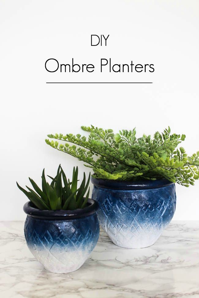 Painted Ombre Ceramic Pots In Just 5 Minutes Love Create Celebrate Painted Pots Diy Painted Terra Cotta Pots Spray Paint Flowers