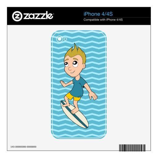 Surfing boy cartoon iPhone skin Skin For iPhone 4