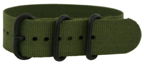 22mm - Army Green Pvd Zulu 3 Ring Military Watch Band Strap Nato G-10 Fits All