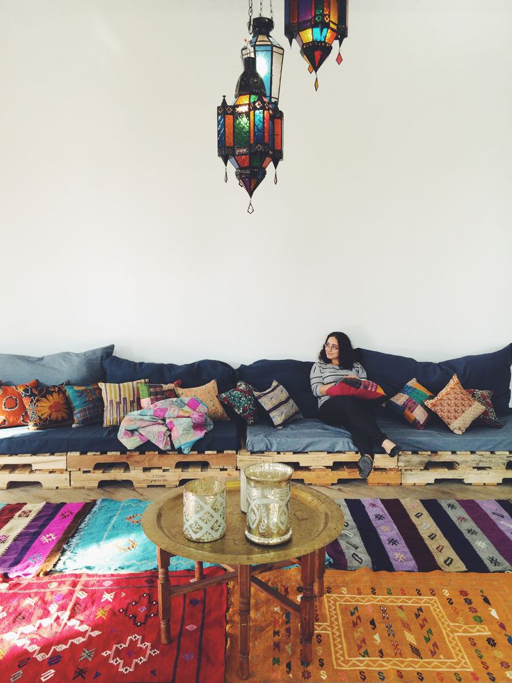 At the office. Moroccan decor.  living room.