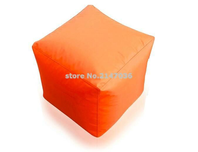 Foldable Ottoman , square orange bean bag ottoman and footstool , outdoor waterproof kids chair