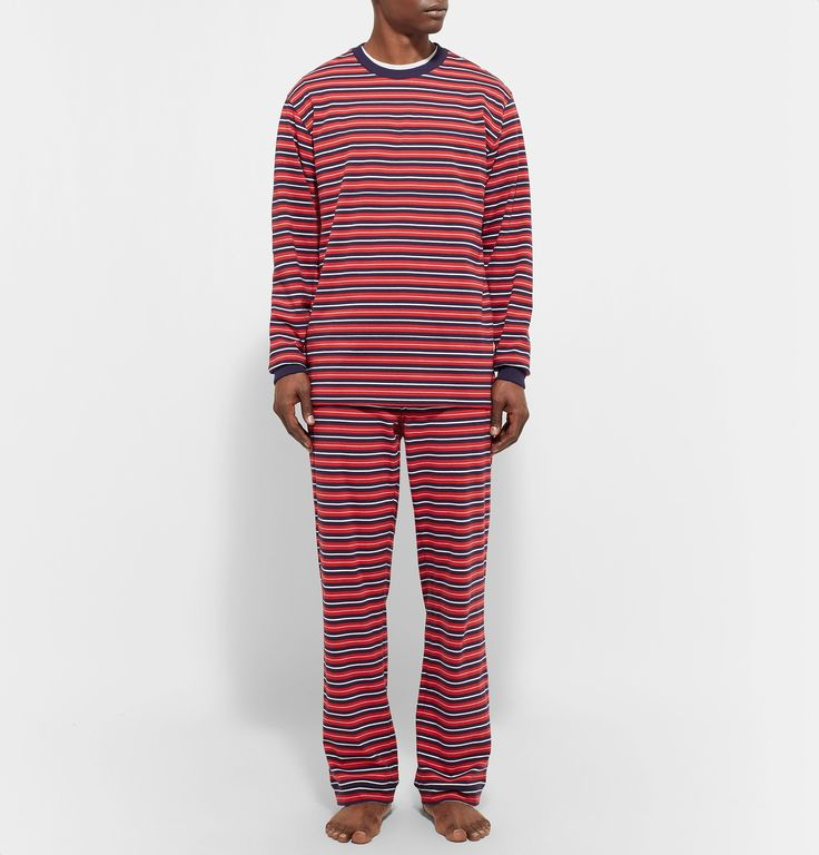 <a href='http://www.mrporter.com/en-us/mens/designers/sleepy_jones'>Sleepy Jones</a>' pyjama T-shirt is a prerequisite for weekend lounging. Made from soft and lightweight cotton-jersey, it's cut for a relaxed fit and printed with bold red, navy and white stripes. Team yours with the [matching trousers id802691].