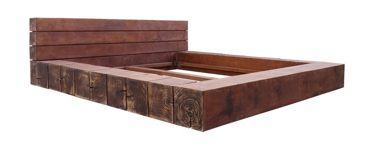 Masterly Crafted Rustic Design low Height Bed with Wide headboard and Chopped Wood Blocks For getting stylish And Comfy Bedroom Area By Umaid Craftorium