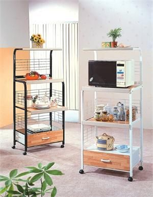 Tall Taster/Microwave Kitchen Utility Cart - Black or White