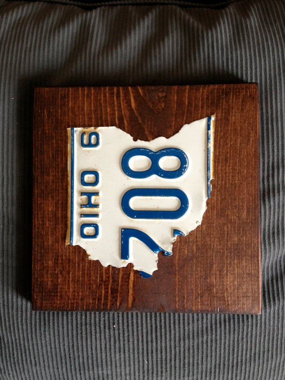 Ohio state outline license plate art by PlatesByWill on Etsy