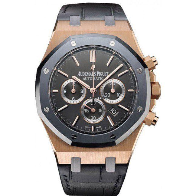 Audemars Piguet 18k Rose Gold Leo Messi $53,000 #AudemarsPiguet #AP #Messi #watch #watches #chronograph pink gold crocodile skin bracelet sapphire glass