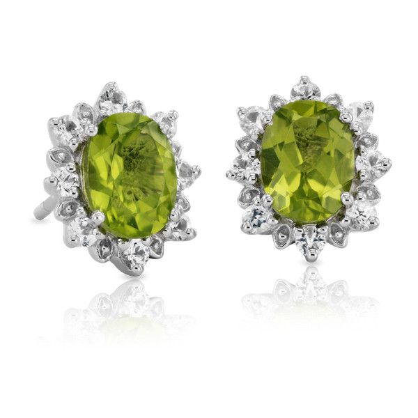 Blue Nile Sunburst Oval Peridot Stud Earrings ($250) ❤ liked on Polyvore featuring jewelry, earrings, peridot earrings, stud earrings, blue nile earrings, peridot jewelry and peridot jewellery