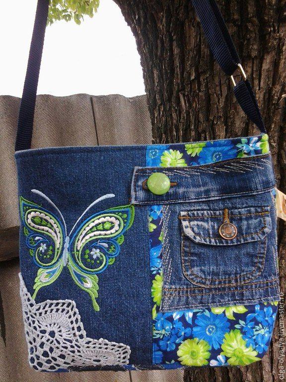 Купить сумочка Бабочка в голубом) продана - бирюзовый, рисунок, бабочка, бабочки, вышивка машинная