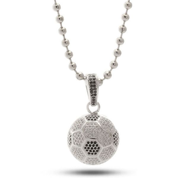 King Ice Silver Soccer Ball CZ Necklace ($80) ❤ liked on Polyvore featuring men's fashion, men's jewelry, men's necklaces, silver, mens ball chain necklace, mens silver necklace and mens engravable necklaces