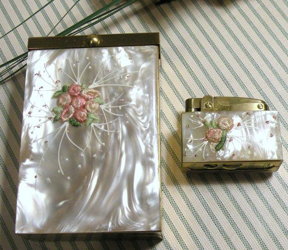 Vintage Cigarette Case w/Lighter Mother of Pearl Floral Pink Green Brass 1950s