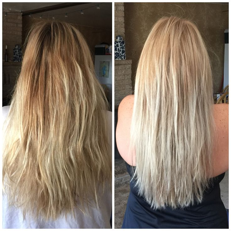 Before and after toning my own hair with wella toner T18 and volume 20 ion scalp sensitive developer.