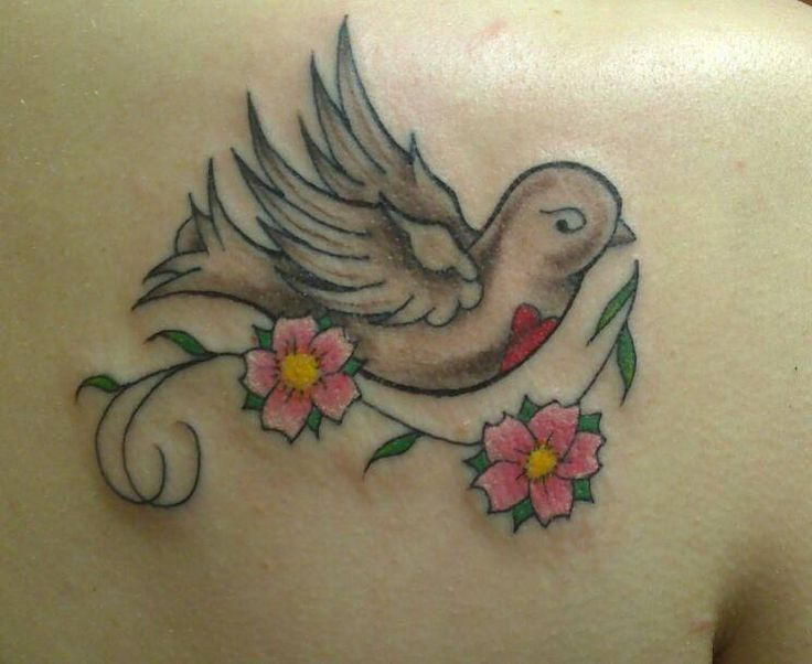 Tattoo tatouage couleur oiseau fleur tatouages filou - Tatouage fleur couleur ...