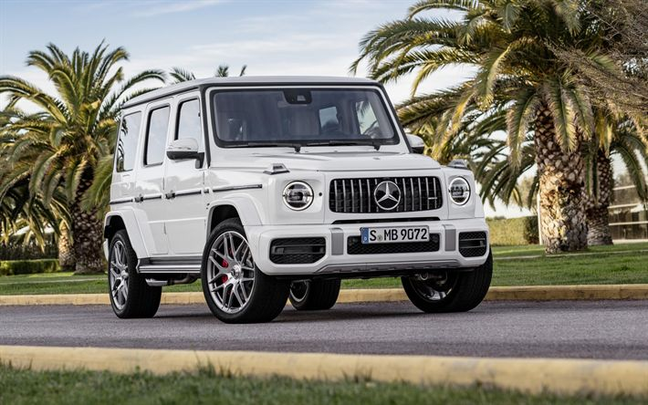 Download wallpapers Mercedes-Benz AMG G63, street, 4k, 2019 cars, white Gelendvagen, new cars, SUVs, Mercedes G-Class, german cars, Mercedes, Gelendvagen