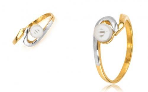 Perlový prsteň ELISA z viacfarebného zlata