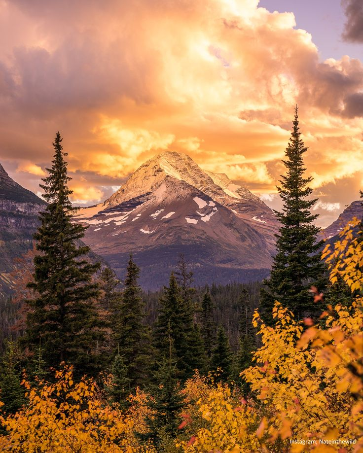 Fiery Sunset in Glacier National Park Montana.