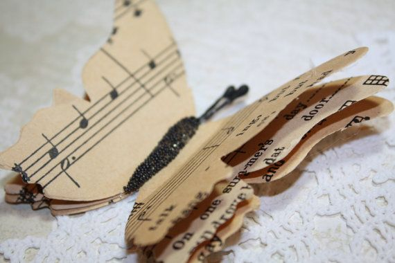 Upcycled Butterfly Magnet Vintage Music by IsaCreationsVintage, $2.75