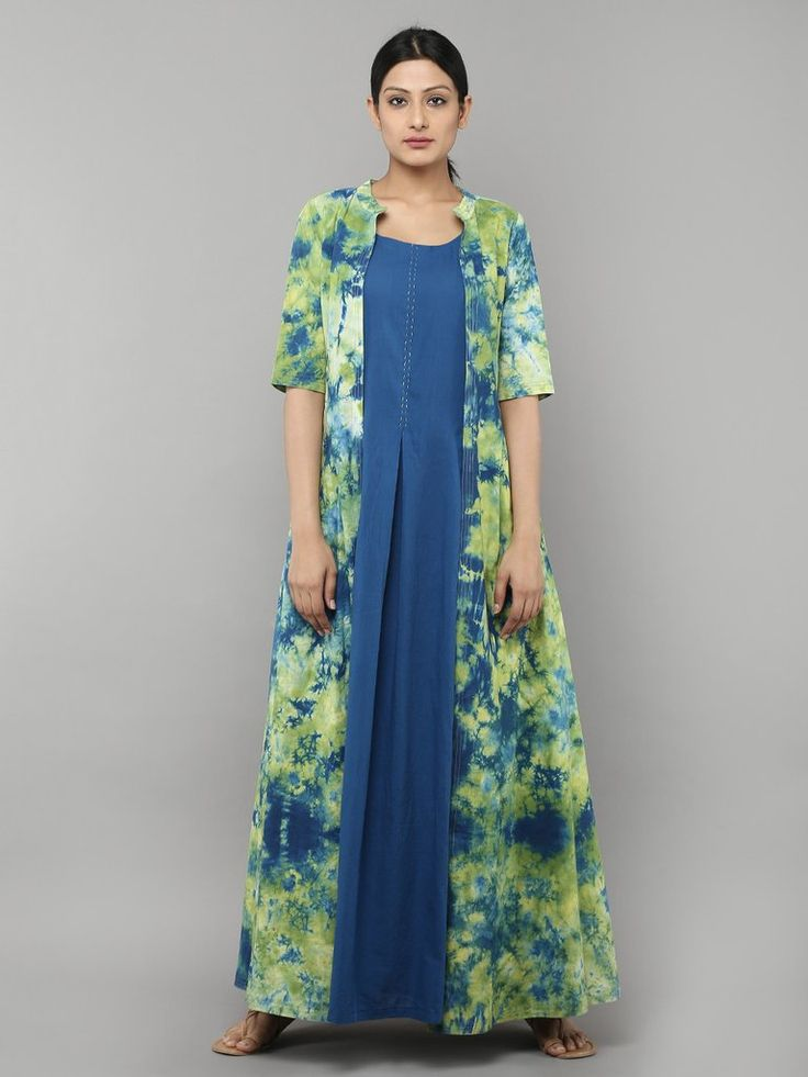 Green Blue Tie and Dye Cotton Dress with Inner - Set of 2
