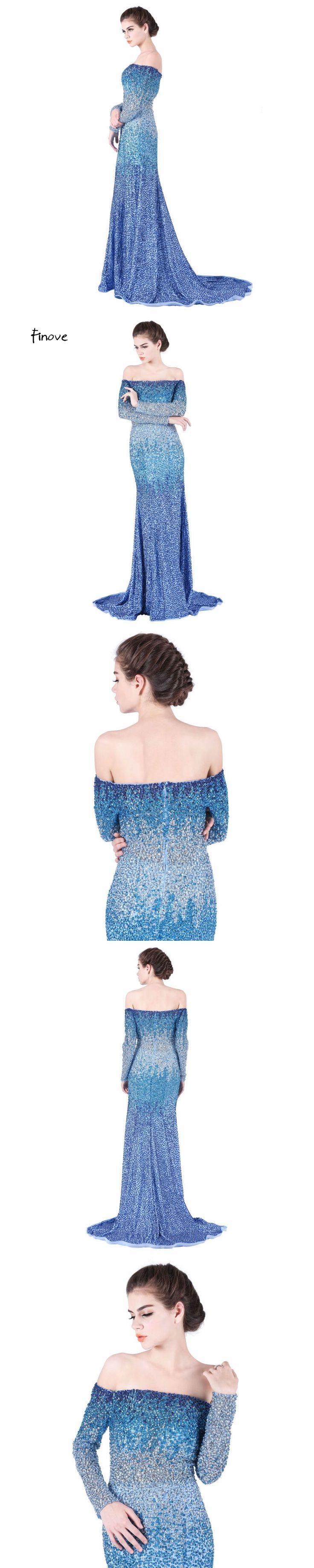 Dazzling Boat-neck Sexy Design Evening Dresses Long Heavy Beaded Off the Shoulder Full Sleeve Royal Blue Mermaid Prom Dress Part