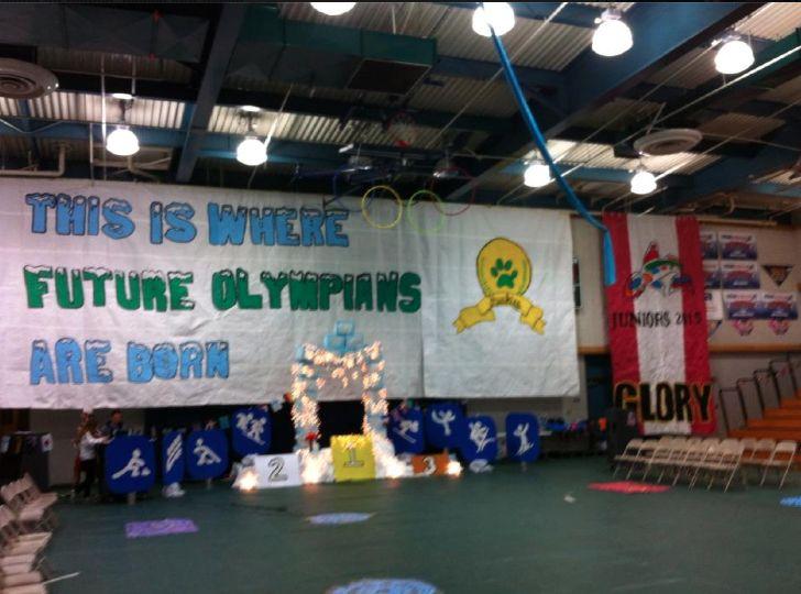 Great Rally Idea Olympics Janet Roberts Chino Hills High School Rally Idea School Spirit Posters Pep Rally Themes