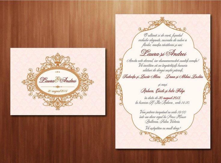 "Wedding invitations ideas/Idei invitatii de nunta originale. Invitație ""Roz roial"" format A6 (10.5x15 cm)"