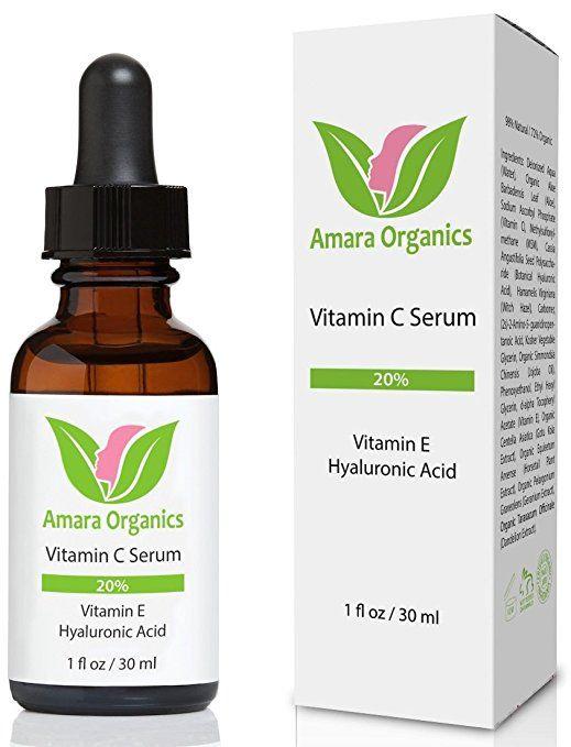 Amazon.com: Amara Organics Vitamin C Serum for Face 20% with Hyaluronic Acid & Vitamin E, 1 fl. oz.: Beauty