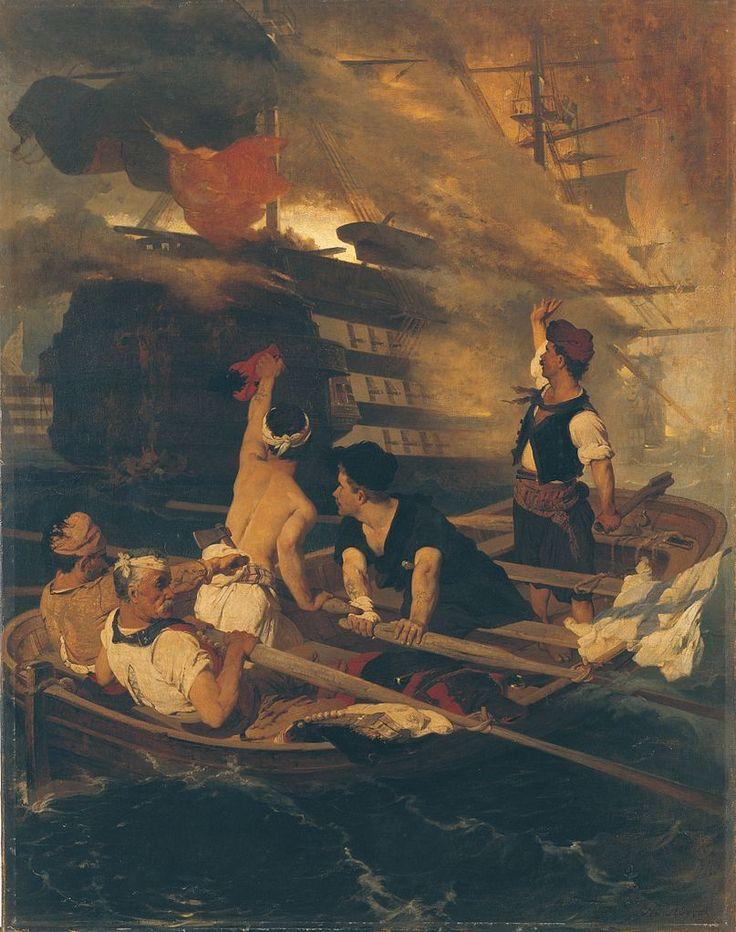 """Νικηφόρος Λύτρας: """"Η_πυρπόληση της τουρκικής ναυαρχίδας από τον Κανάρη""""."""