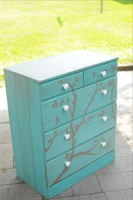 dresser: Paintings Furniture, Diy Ideas, Diy Furniture, Diy Crafts, Old Dressers, Paintings Dressers, Trees Branches, Dressers Ideas, Diy Projects