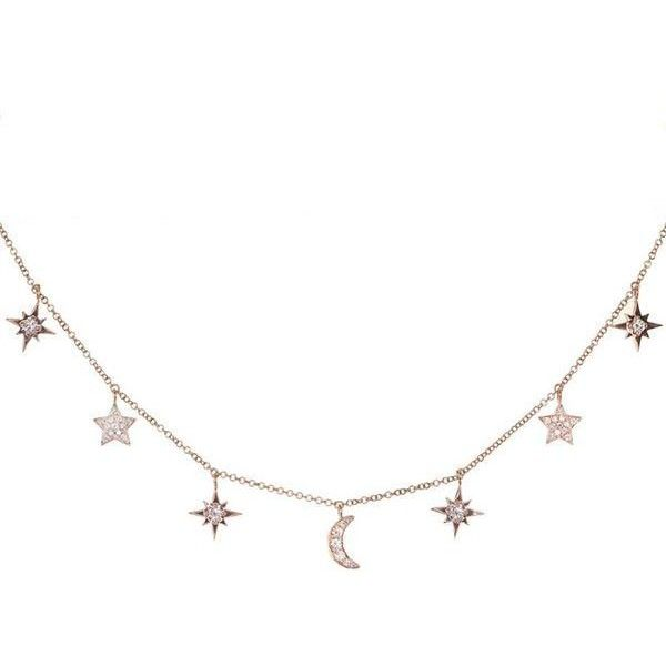 14kt gold and diamond Little Moon necklace – Luna Skye ($1,775) ❤ liked on Polyvore featuring jewelry, necklaces, diamond jewelry, diamond necklace, adjustable necklace, diamond jewellery and gold chain necklace