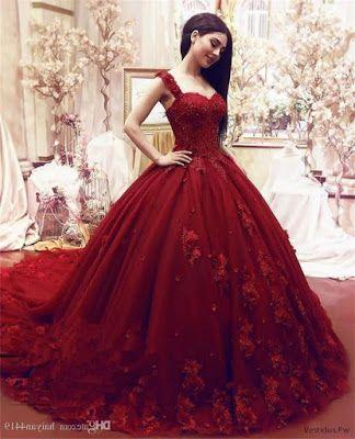 Vestidos de xv color rojo vino
