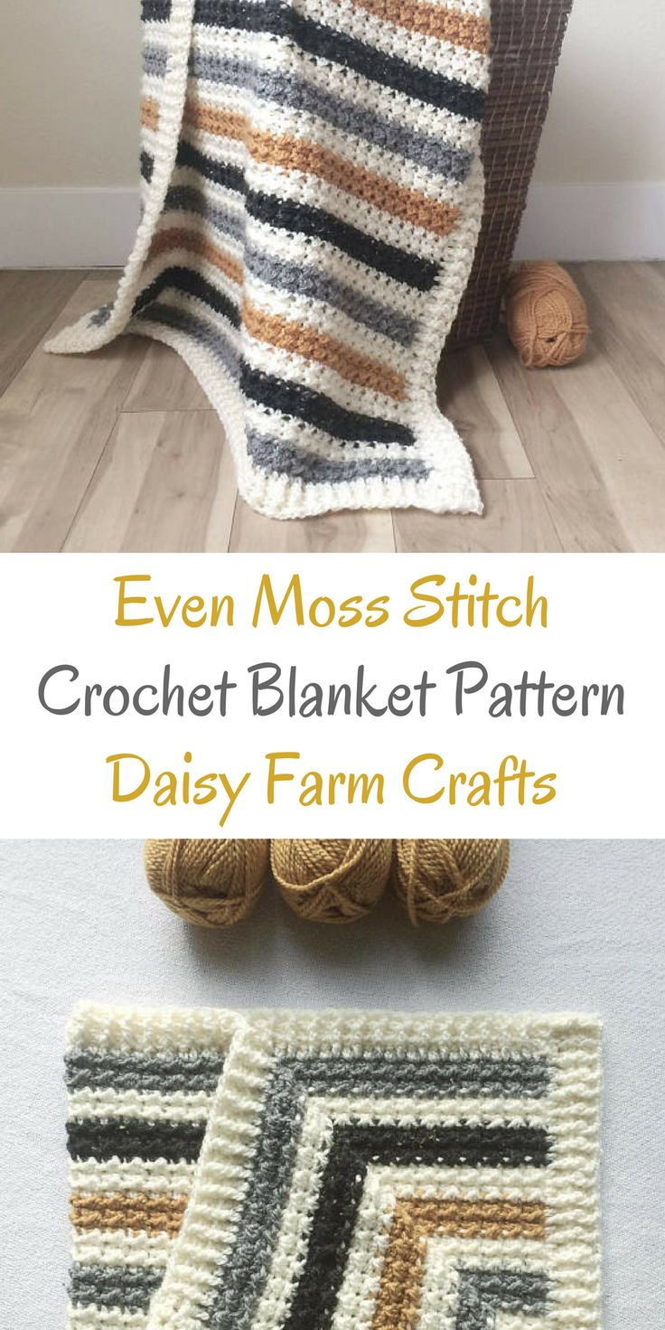 can't get enough of daisy farm crafts crochet blanket patterns - this even moss stitch is really pretty and I love the stripes #crochetblanketpattern #crochetpatterns #affiliate #crochetblanketpatterns #crochetpattern