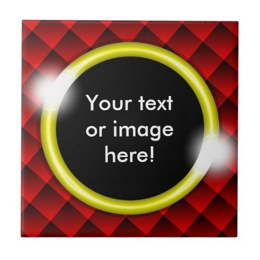 Red Black Diamond Squares 3D Gold Frame Tile - This design features fading red and black 3D squares with a gold frame in which to add your own text, image, photo or picture. This can be a gift for a best friend, husband, wife, boyfriend, girlfriend, a fathers day gift, Christmas gift or Valentines Day gift.