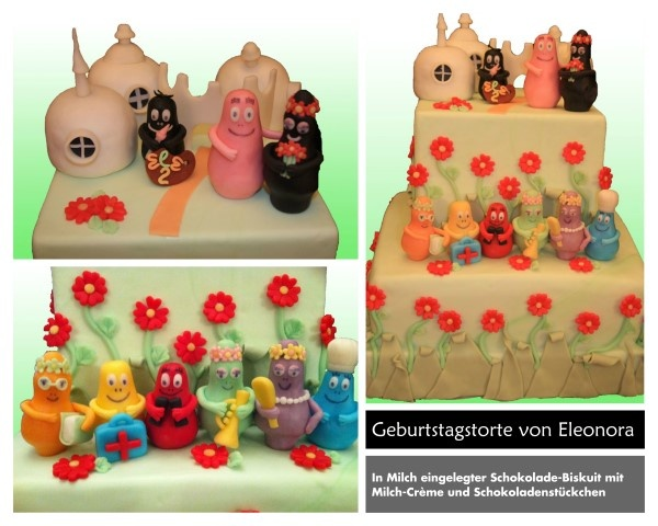 Birthday cake Barbapapà in green and flowers