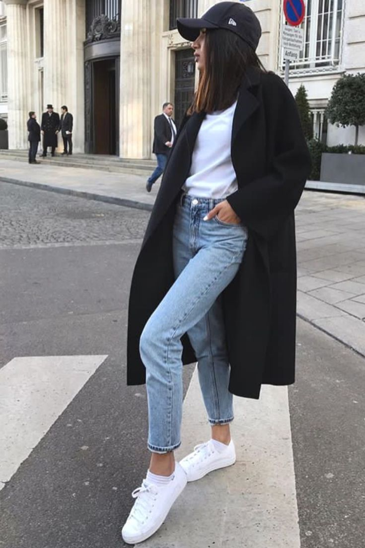 mode femme tenue casual avec un jean un tshirt blanc un. Black Bedroom Furniture Sets. Home Design Ideas