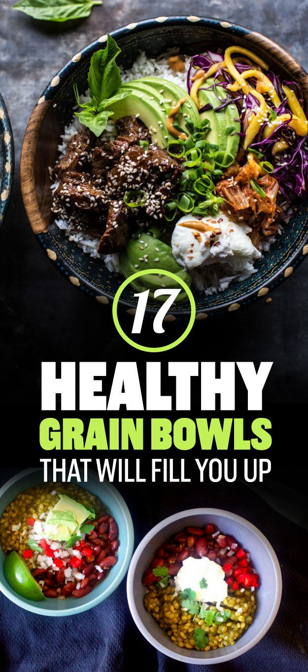 17 Healthy Grain Bowls That Will Fill You Up, Chicken Burrito Bowl, Barbecue beef bowl, etc.