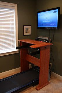 custom desk to really make those miles on the treadmill go easier.... place for coffee, newspaper, smart phone.....