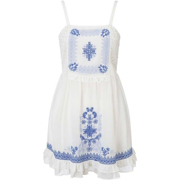 Miss Selfridge PETITE Embroidered Sun Dress ($21) ❤ liked on Polyvore featuring dresses, ivory, petite, summer sundresses, summer dresses, beach sundresses, holiday dresses and petite evening dresses