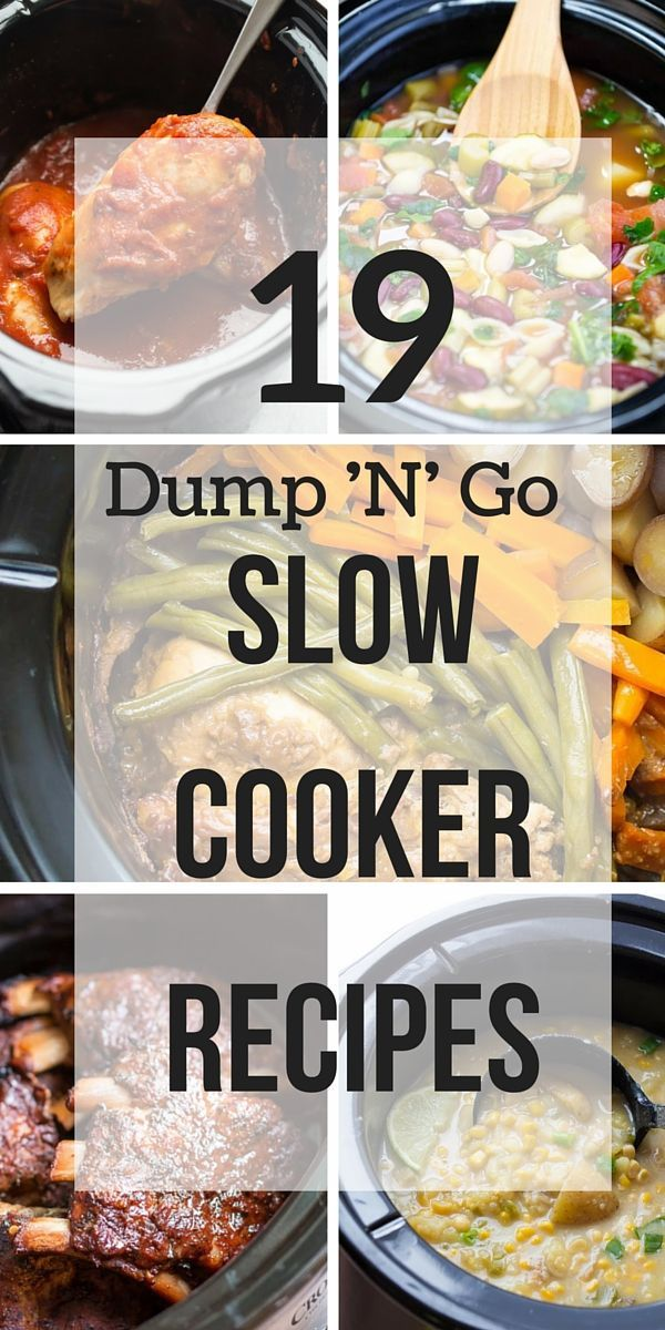 19 Dump and Go Slow Cooker Recipes that require no cooking or browning beforehand -- simple throw it in and walk away! Easy dinner recipes for busy weeknights a