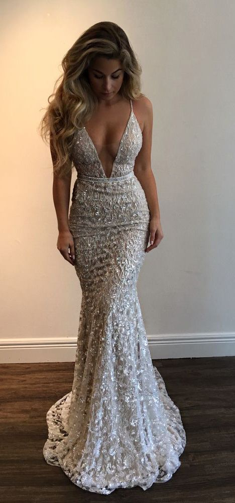 Amazing Stunning Prom Dress,Spaghetti Straps Evening Dress,Beading Party Dress,Low cut dress,Fishtail dress
