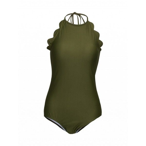 Choies Army Green Halter Low Back Scallop Trim Swimsuit ($17) ❤ liked on Polyvore featuring swimwear, one-piece swimsuits, green, olive green swimsuit, olive green one piece swimsuit, green swimsuit, scalloped one piece swimsuit and scalloped bathing suit