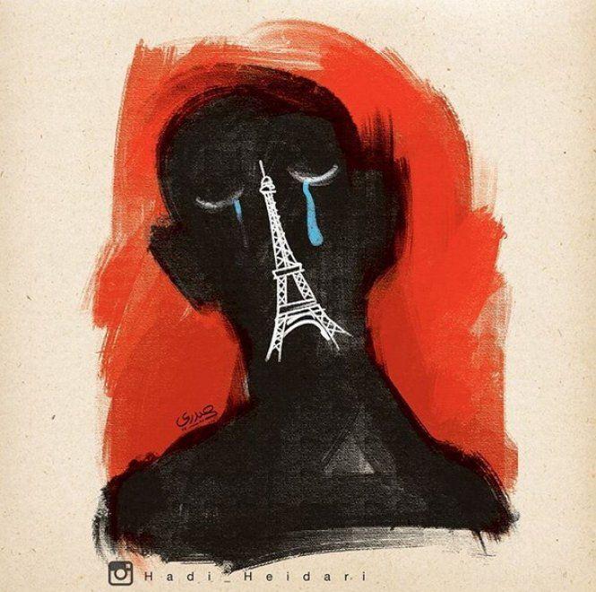 Hadi Heidari, vignettista iraniano. La sua ultima creazione è un omaggio a Parigi dopo gli attentati del 13 novembre: lo sfondo è rosso, come il sangue. Sul volto nero - naso e bocca sono la Torre Eiffel  -  due occhi chiusi da cui scendono le lacrime blu. Heidari lavora per il quotidiano riformista Shargh