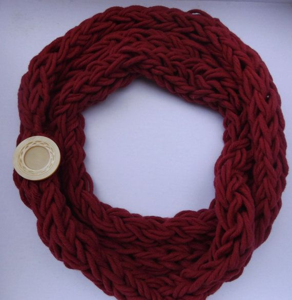 red rope necklace, knit rope necklace, cotton knit scarf, deep red knit cowl, knit chain necklace, red chain necklace, red summer scarf