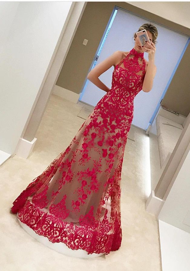 prom dresses 2017, red halter party dresses, elegant sleeveless evening dresses, cheap red lace prom dresses